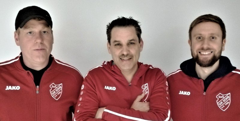 "Das künftige Trainerteam des SuS DJK Gohr, von links: Thorsten ""Totti"" Engels (Co-Trainer), Winfried ""Winni"" Koschnik (Trainer) und Sascha Heinrichs (Co-Trainer)"